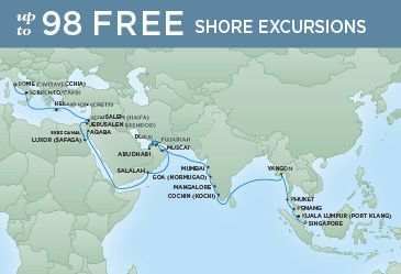 Regent Cruises | 40-Nights from Singapore to Rome Cruise Iinerary Map