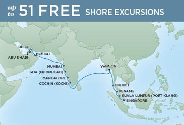 Regent Cruises | 20-Nights from Singapore to Dubai Cruise Iinerary Map