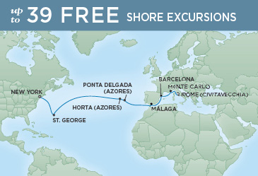 Regent Cruises | 16-Nights from Rome to New York Cruise Iinerary Map