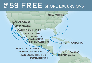 Regent Cruises | 27-Nights from Los Angeles to New York Cruise Iinerary Map