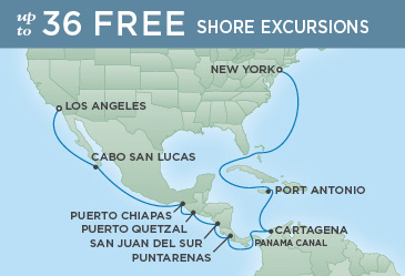 Regent Cruises | 18-Nights from Los Angeles to New York Cruise Iinerary Map