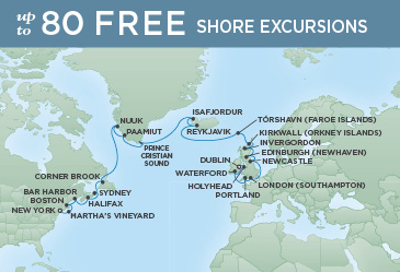Regent Cruises | 27-Nights from New York to Dublin Cruise Iinerary Map