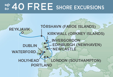 Regent Cruises | 12-Nights from Reykjavik to Dublin Cruise Iinerary Map