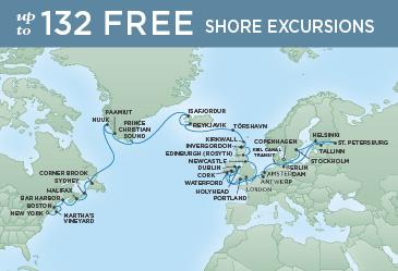 Regent Cruises | 41-Nights from New York to Copenhagen Cruise Iinerary Map