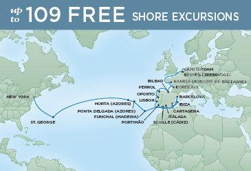 Regent Cruises | 28-Nights from Amsterdam to New York Cruise Iinerary Map