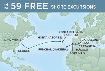 Regent Cruises | 17-Nights from Barcelona to New York Cruise Iinerary Map