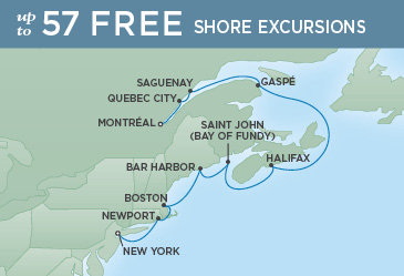 Regent Cruises | 10-Nights from New York to Montreal Cruise Iinerary Map