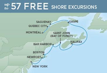 Regent Cruises | 10-Nights from New York to Montreal Cruise Iinerary Map