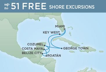 Regent Cruises | 10-Nights Roundtrip from Miami Cruise Iinerary Map