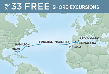 Regent Cruises | 14-Nights from Barcelona to Miami Cruise Iinerary Map