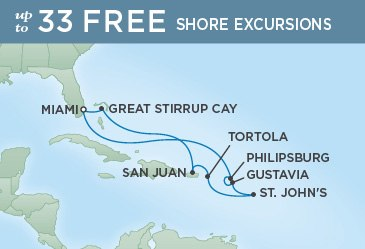 Regent Cruises | 10-Nights Roundtrip from Miami Cruise Iinerary Map
