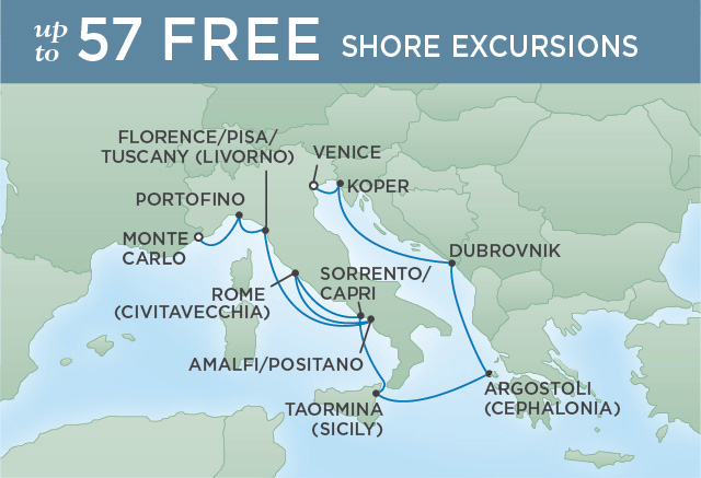 Regent Cruises | 11-Nights from Venice to Monte-Carlo Cruise Iinerary Map