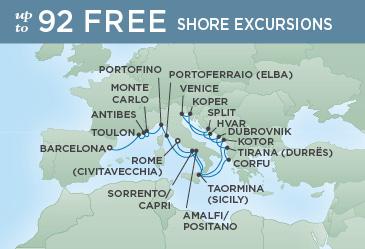 Regent Cruises | 19-Nights from Barcelona to Rome Cruise Iinerary Map