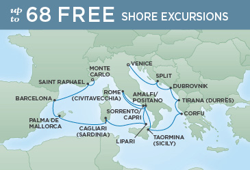 Regent Cruises | 14-Nights from Venice to Monte-Carlo Cruise Iinerary Map