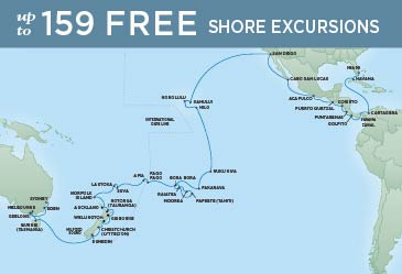 Regent Cruises | 66-Nights from Miami to Sydney Cruise Iinerary Map