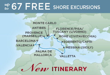 Regent Cruises | 11-Nights from Monte-Carlo to Barcelona Cruise Iinerary Map