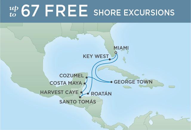 Regent Cruises   10-Nights Roundtrip from Miami Cruise Iinerary Map