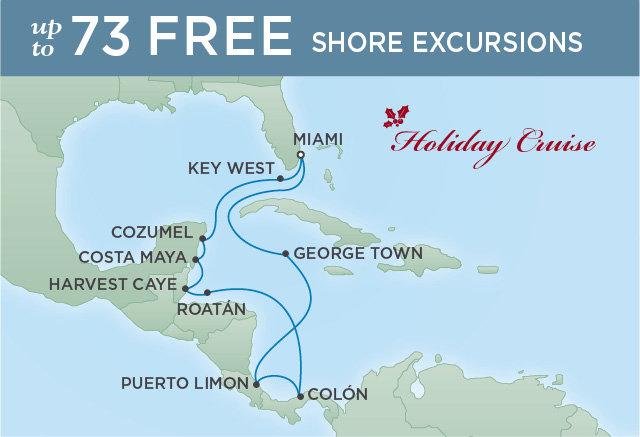 Regent Cruises   12-Nights Roundtrip from Miami Cruise Iinerary Map