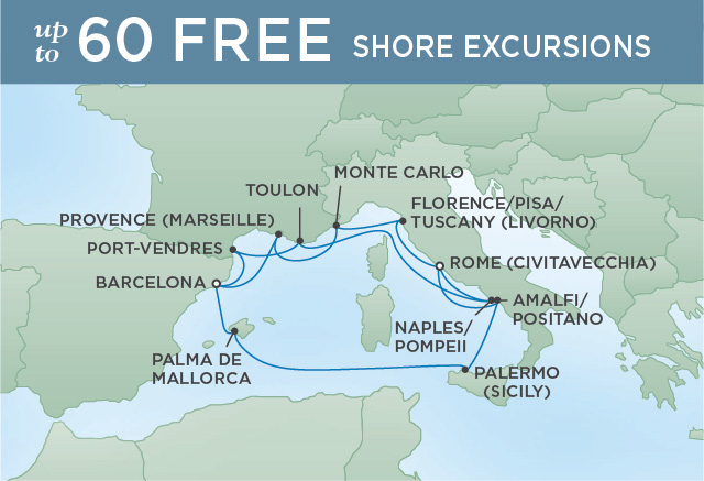 Regent Cruises | 14-Nights from Rome to Barcelona Cruise Iinerary Map
