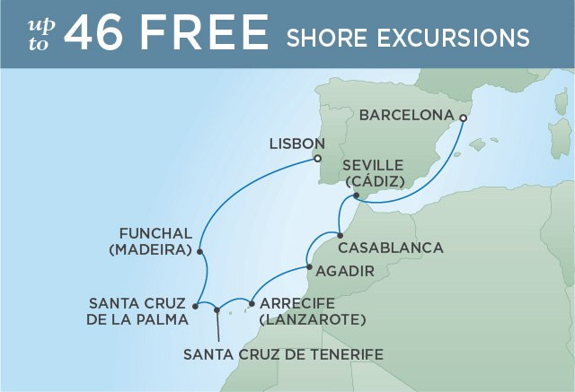 Regent Cruises | 11-Nights from Barcelona to Lisbon Cruise Iinerary Map