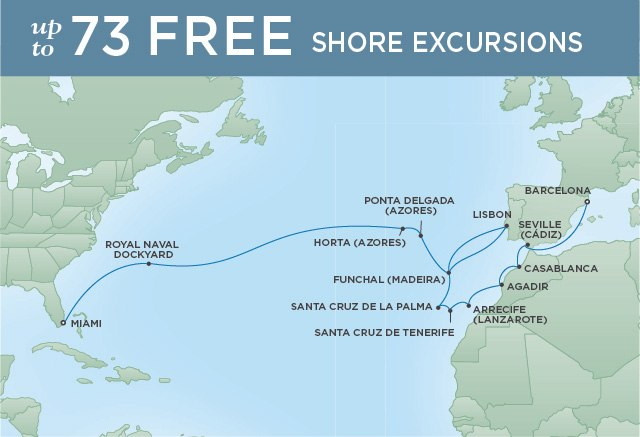 Regent Cruises | 25-Nights from Barcelona to Miami Cruise Iinerary Map