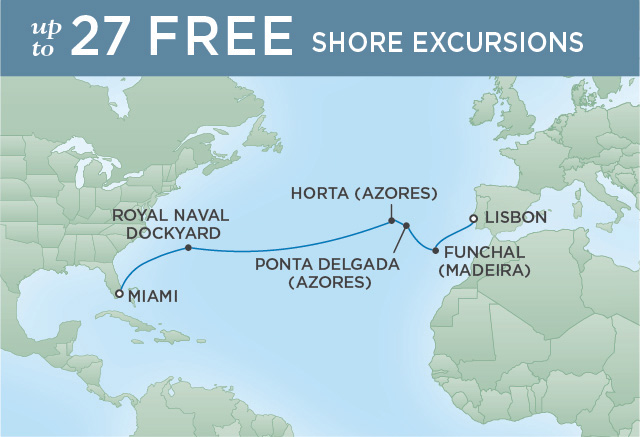 Regent Cruises | 14-Nights from Lisbon to Miami Cruise Iinerary Map