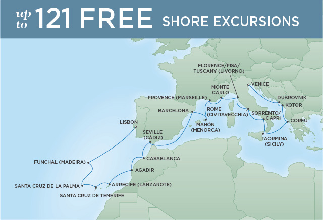 Regent Cruises | 22-Nights from Lisbon to Venice Cruise Iinerary Map