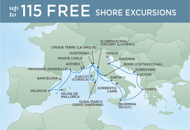Regent Cruises | 20-Nights from Venice to Barcelona Cruise Iinerary Map
