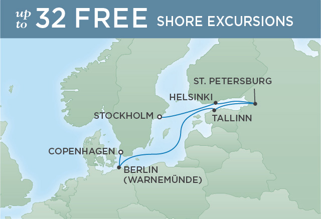 Regent Cruises | 7-Nights from Copenhagen to Stockholm Cruise Iinerary Map