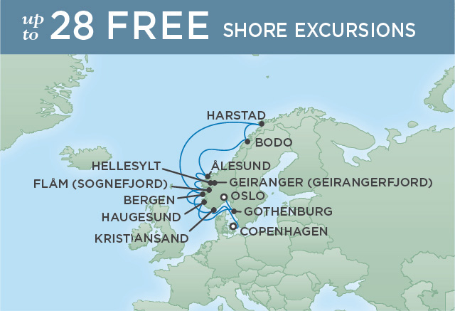 Regent Cruises | 12-Nights from Copenhagen to Oslo Cruise Iinerary Map