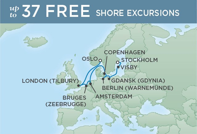 Regent Cruises | 10-Nights from Oslo to Stockholm Cruise Iinerary Map
