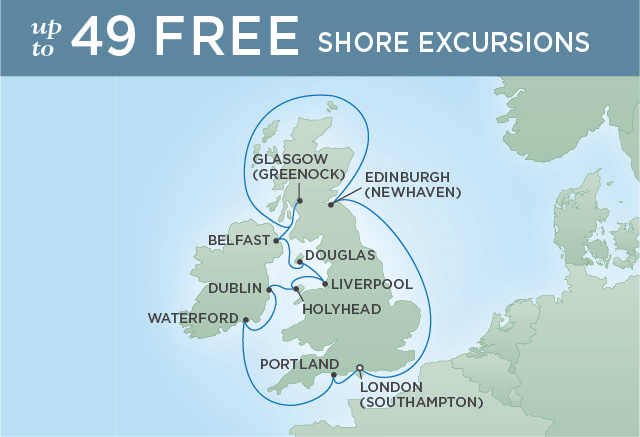 Regent Cruises | 12-Nights Roundtrip from London Cruise Iinerary Map