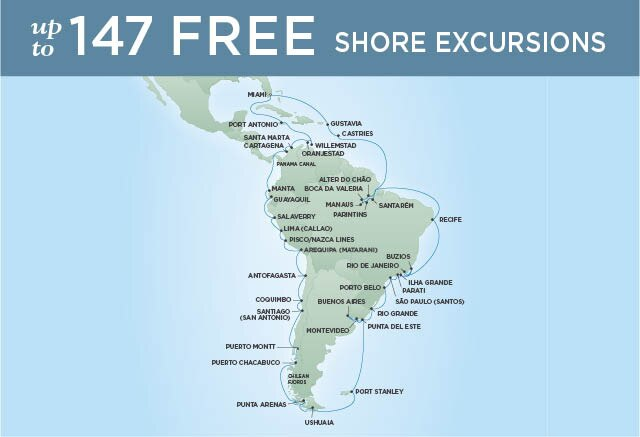 Regent Cruises | 66-Nights Roundtrip from Miami Cruise Iinerary Map