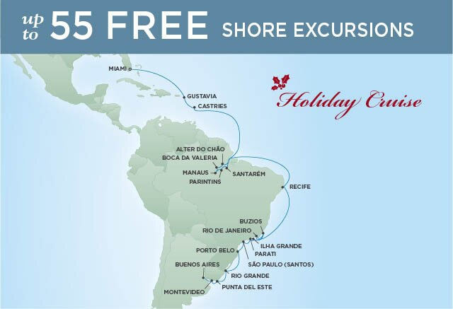 Regent Cruises | 30-Nights from Buenos Aires to Miami Cruise Iinerary Map