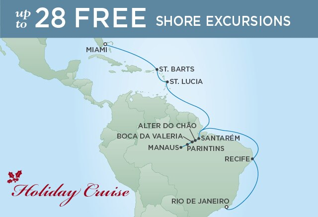 Regent Cruises | 20-Nights from Rio de Janeiro to Miami Cruise Iinerary Map