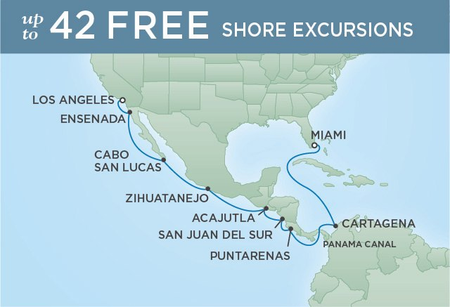 Regent Cruises | 15-Nights from Los Angeles to Miami Cruise Iinerary Map