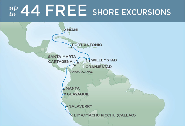 Regent Cruises | 15-Nights from Miami to Lima Cruise Iinerary Map