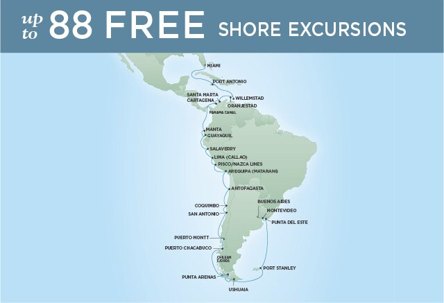 Regent Cruises | 36-Nights from Miami to Buenos Aires Cruise Iinerary Map