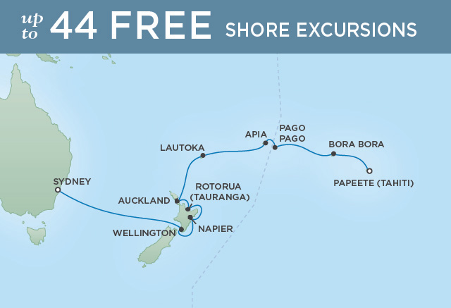 Regent Cruises | 18-Nights from Papeete to Sydney Cruise Iinerary Map