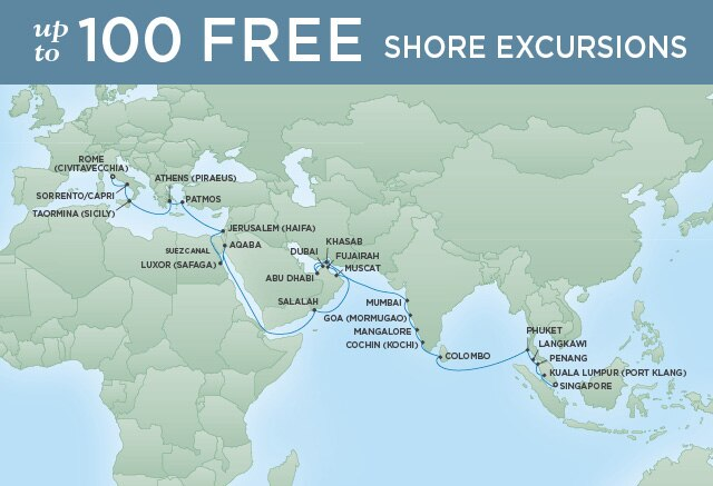 Regent Cruises | 41-Nights from Singapore to Rome Cruise Iinerary Map
