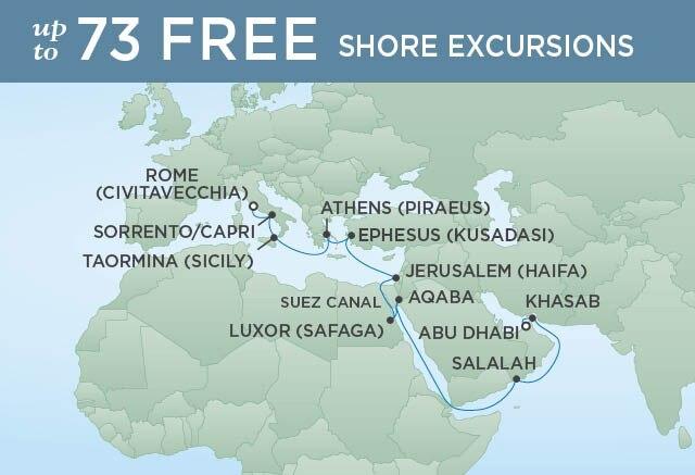 Regent Cruises | 21-Nights from Abu Dhabi to Rome Cruise Iinerary Map