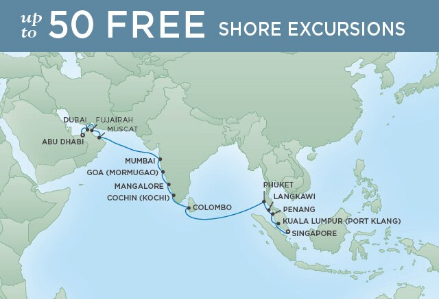 Regent Cruises | 20-Nights from Singapore to Abu Dhabi Cruise Iinerary Map