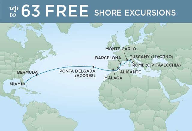 Regent Cruises | 18-Nights from Rome to Miami Cruise Iinerary Map
