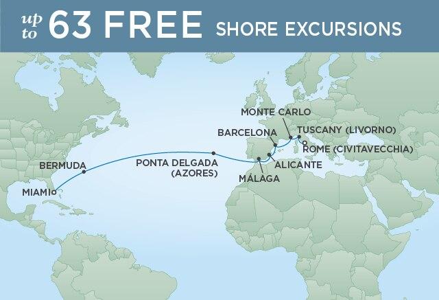 Regent Cruises | 18-Nights from Rome to Miami Cruise Iinerary Map