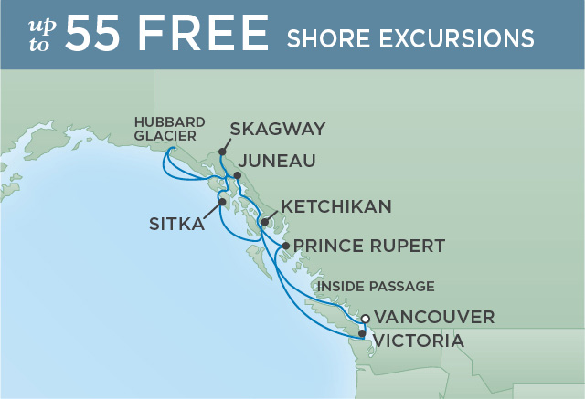 Regent Cruises | 10-Nights Roundtrip from Vancouver Cruise Iinerary Map