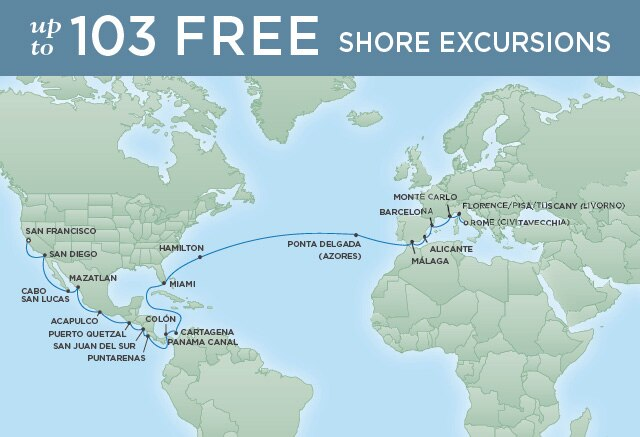 Regent Cruises | 36-Nights from Rome to San Francisco Cruise Iinerary Map
