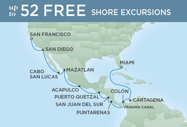 Regent Cruises | 18-Nights from Miami to San Francisco Cruise Iinerary Map