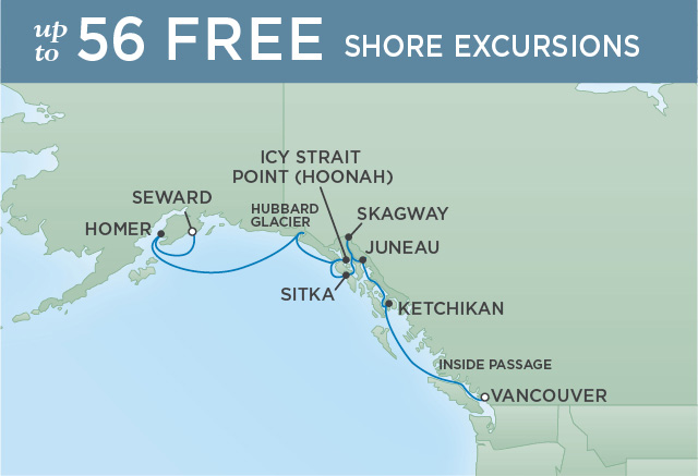Regent Cruises | 10-Nights from Vancouver to Anchorage Cruise Iinerary Map