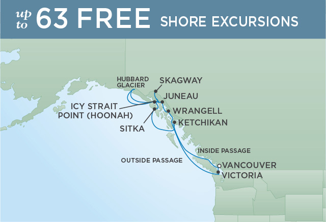 Regent Cruises | 11-Nights Roundtrip from Vancouver Cruise Iinerary Map