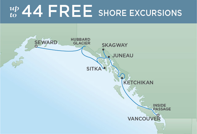 Regent Cruises | 7-Nights from Vancouver to Anchorage Cruise Iinerary Map